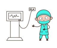 De Vectorillustratie van Presenting Ultrasound Machine van de beeldverhaalchirurg stock illustratie