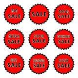 De vectorillustratie van ronde rode etiketten met inschrijvingen bedraagt, grote en weekendverkoop royalty-vrije illustratie