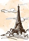 De vectorillustratie van de schetsstijl van de Toren van Eiffel Frankrijk, Parijs royalty-vrije illustratie