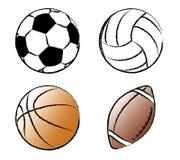 De Vectorillustratie van sportballen Stock Afbeeldingen