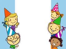 De vectorillustratie van Stok stelt Kleine Kinderen naast een Wit het Kadermalplaatje van de Raadsverjaardag voor royalty-vrije stock afbeeldingen