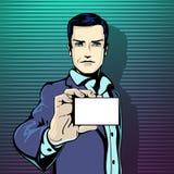 De vectorillustratie van succesvolle zakenman toont bezoekkaart in de uitstekende stijl van de pop-artstrippagina Houdt van en he Royalty-vrije Stock Afbeeldingen