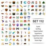 De vectorillustratie van sushi, het surfen, supermarkt, superhero, maskeert summar rust het pictogramreeks van de steenleeftijd vector illustratie