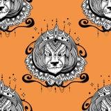 De vectorillustratie van tatoegeringsleo De illustratie van koningsleo voor het kleuren van pagina's Stock Foto's