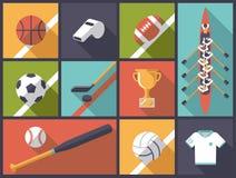 De Vectorillustratie van Team Sports Flat Design Icons Stock Afbeeldingen