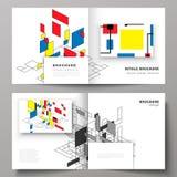 De vectorillustratie van twee dekkingsmalplaatjes voor vierkante ontwerp bifold brochure, tijdschrift, vlieger, boekje Samenvatti vector illustratie