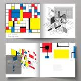 De vectorillustratie van twee dekkingsmalplaatjes voor vierkante ontwerp bifold brochure, tijdschrift, vlieger, boekje Samenvatti royalty-vrije illustratie