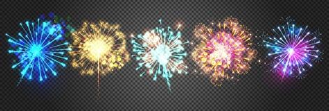 De vectorillustratie van vuurwerkfonkelingen royalty-vrije illustratie