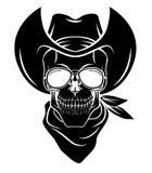 De vectorillustratie van Warrior van de schedelcowboy Stock Foto's