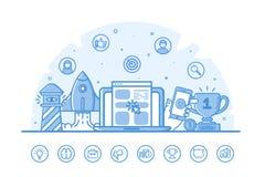 De vectorillustratie van websitebanner met blauwe pictogrammen in vlak overzicht vulde stijl Royalty-vrije Stock Afbeelding