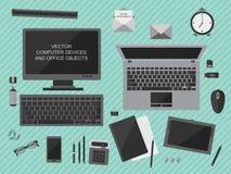 De vectorillustratie van werkplaats met computerapparaten, bureau heeft en bedrijfsdocumenten bezwaar Royalty-vrije Stock Afbeelding