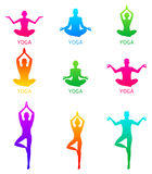 De vectorillustratie van Yoga stelt silhouet Royalty-vrije Stock Foto
