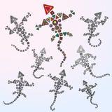 De VectorIllustratie van zeven Draken Stock Fotografie