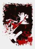 De vectorillustratie, verf, meisje ligt, rode zwarte gamma, beeld, verschrikking, vrees, Halloween stock illustratie