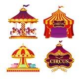 De vectorillustratiereeks Carnaval-circusemblemen, pictogrammen met tent, carrousels, vlaggen isoleerde op witte achtergrond in royalty-vrije illustratie