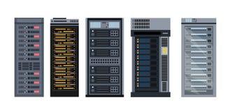 De vectorillustratiereeks diverse rekken van de beeldverhaalserver, verschillende types van server rekt inzameling van elementen  vector illustratie