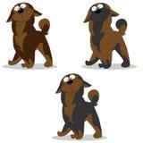 De vectorillustratiereeks hondkarakters verraste grijs bruin c royalty-vrije illustratie