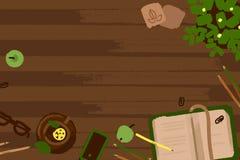 De vectorillustratiereeks van bureau en de zaken werken elementen aan een houten bureautextuur in vlak ontwerp Hoogste mening Royalty-vrije Stock Afbeeldingen