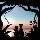 De vectorillustraties silhouetteren de Romantische hond en de kat Stock Foto's