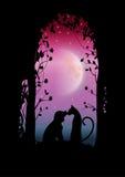 De vectorillustraties silhouetteren de Romantische hond en de kat Royalty-vrije Stock Afbeelding