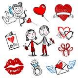 De vectorillustraties van de valentijnskaart Royalty-vrije Stock Foto