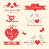 De vectorillustraties van de Valentijnskaartendag Stock Foto's