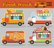 De vectorillustraties van de voedselvrachtwagen Stock Afbeeldingen