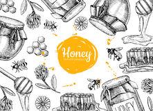 De vectorillustraties van het honingshand getrokken kader Kruik, bij, honingraat vector illustratie