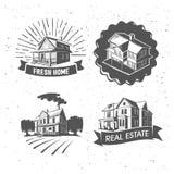 De vectorillustraties van het onroerende goederensilhouet, logotypes Rebecca 36 Royalty-vrije Stock Afbeelding