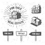 De vectorillustraties van het onroerende goederensilhouet, logotypes Rebecca 36 Royalty-vrije Stock Afbeeldingen