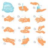 De vectorinstructies van washanden van was of het schoonmaken handen met zeep en schuim in de antibacteriële reeks van de wateril vector illustratie