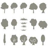 De vectorinzameling van boomsilhouetten isoleert Stock Foto's