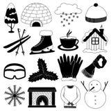 De Vectorinzameling van de winterpictogrammen vector illustratie
