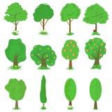 De vectorinzameling van groene bomen isoleert op witte achtergrond Stock Foto's