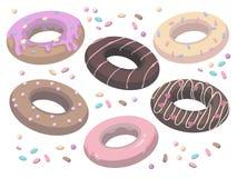 De vectorinzameling van heerlijke beeldverhaalstijl verglaasde en bestrooide zoete donuts vector illustratie