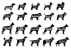 De vectorinzameling van hondsilhouetten op wit Hondenrassen Royalty-vrije Stock Afbeelding