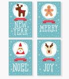De vectorinzameling van Kerstmiskaarten, met de Kerstman, Herten, peperkoekmens Stock Foto