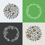De vectorinzameling van kroon maakte met takken, bladeren en bloemen in in lineaire stijl - abstracte kaders stock illustratie