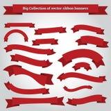 De vectorinzameling van lintbanners voor het ontwerpwerk Stock Foto