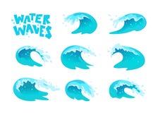 De vectorinzameling van vlakke blauwe die watergolven, ploetert, buigt pictogrammen op witte achtergrond worden geïsoleerd Stock Foto's