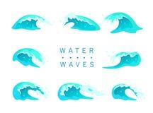 De vectorinzameling van vlakke blauwe die watergolven, ploetert, buigt pictogrammen op witte achtergrond worden geïsoleerd Stock Foto