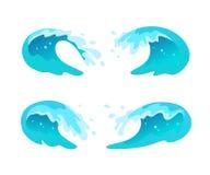 De vectorinzameling van vlakke blauwe die watergolven, ploetert, buigt pictogrammen op witte achtergrond worden geïsoleerd Royalty-vrije Stock Afbeeldingen