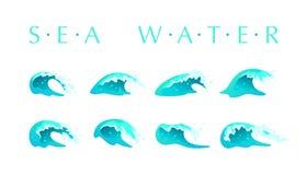 De vectorinzameling van vlakke blauwe die watergolven, ploetert, buigt pictogrammen op witte achtergrond worden geïsoleerd Royalty-vrije Stock Foto's