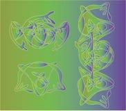 De vectorjugendstil van de illustratie decoratieve Bloem Royalty-vrije Stock Afbeeldingen
