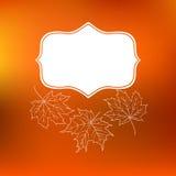 De vectorkaart met de herfstdecor en doorbladert Stock Foto's