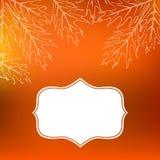 De vectorkaart met de herfstdecor en doorbladert Royalty-vrije Stock Foto's