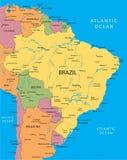 De vectorkaart van Brazilië Stock Foto