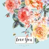De vectorkaart van de de lente uitstekende bloemengroet met boeket van rozen Royalty-vrije Stock Foto's