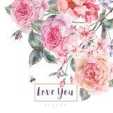 De vectorkaart van de de lente uitstekende bloemengroet met boeket van rozen Royalty-vrije Stock Foto