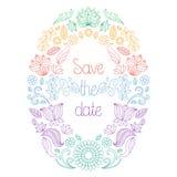De vectorkaart van de huwelijksuitnodiging in bloemenkader en de tekst bewaren de datum royalty-vrije illustratie